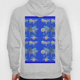 BLUE DRAGONFLIES REPEATING  DAISY FLOWERS  ART Hoody
