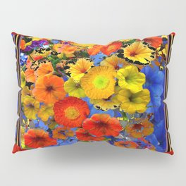BLUE ABSTRACT OF POPPIES & YELLOW PETUNIA FLOWERS Pillow Sham