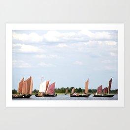 Summer sailing on Dutch Frisian lake Art Print