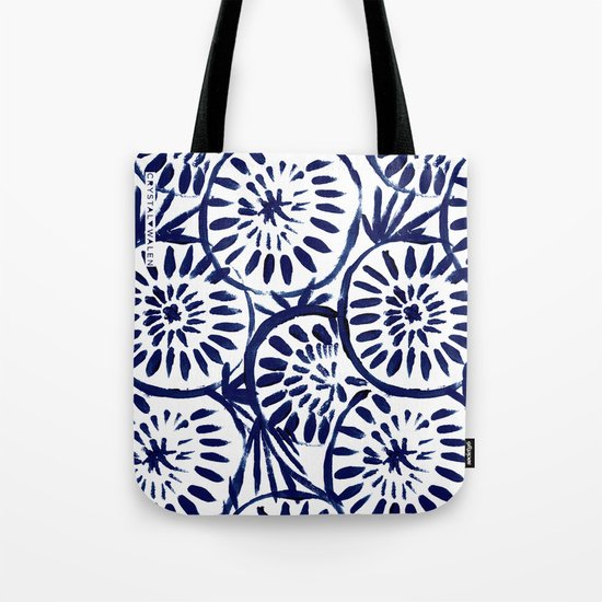 Painted Medallions Navy Tote Bag