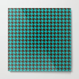Turquoise Blue Brown Houndstooth Pattern Metal Print