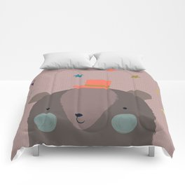 Big Bear and Bluebird Pink Comforters