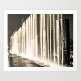 Fountains of Branson Landing Missouri - Sepia Edition Art Print
