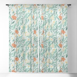 Tropical Flower and Leaves Pattern Sheer Curtain