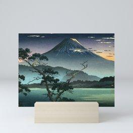 Tsuchiya Koitsu - Fuji from Lake Sai Evening View - Japanese Vintage Woodblock Painting Mini Art Print