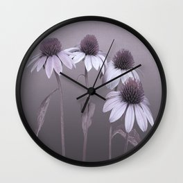 Purple Coneflowers and Dragonfly Wall Clock