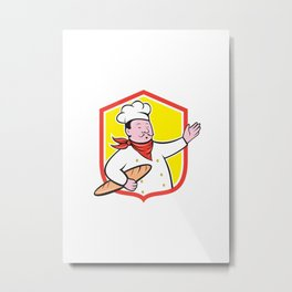 Chef Cook Holding Baguette Shield Cartoon Metal Print