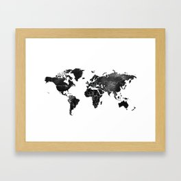 Black and silver world map Framed Art Print