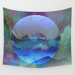 Opalescent Ocean Moon Watercolor Wall Tapestry