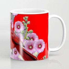 MODERN  RED ART PINK HOLLYHOCKS & RED CARDINAL BIRD Coffee Mug