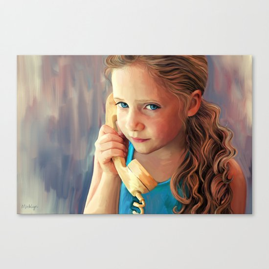 The Confidante - painting of a young girl on the phone Canvas Print