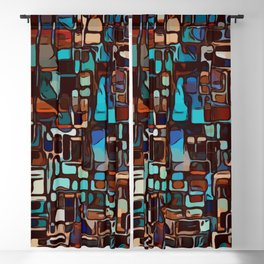 Stained glass mosaic abstract Blackout Curtain