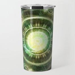 Green Chaos Clock, Steampunk Alchemy Fractal Mandala Travel Mug