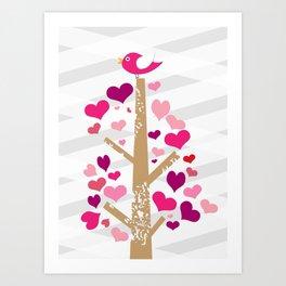 bird & heart tree Art Print