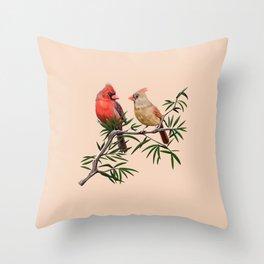 Northern Cardinal Mates Throw Pillow