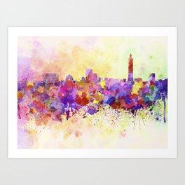 Taipei skyline in watercolor background Art Print