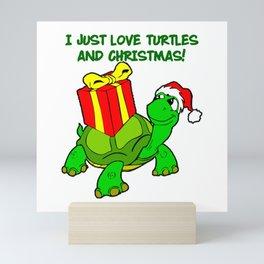 I JUST LOVE TURTLES AND CHRISTMAS! Mini Art Print