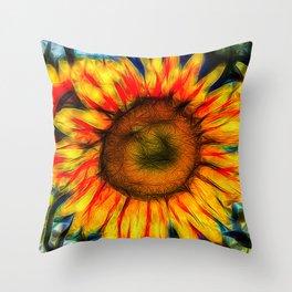 Single Sunflower Art Throw Pillow
