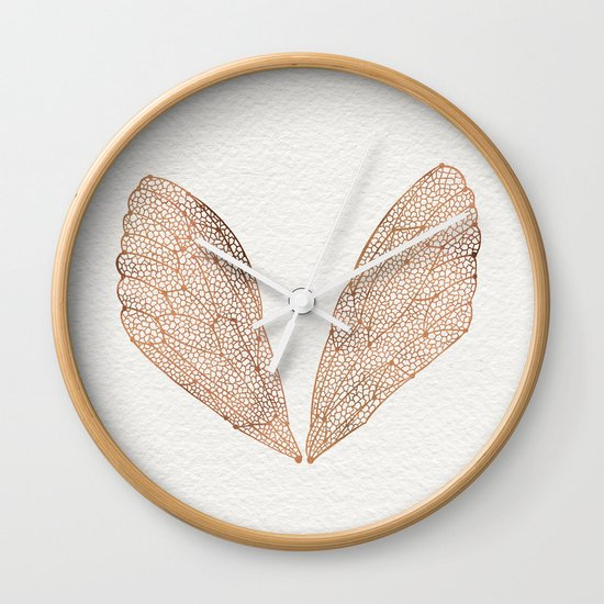Cicada Wings in Rose Gold Wall Clock