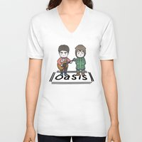 oasis V-neck T-shirts featuring Oasis by zyxth
