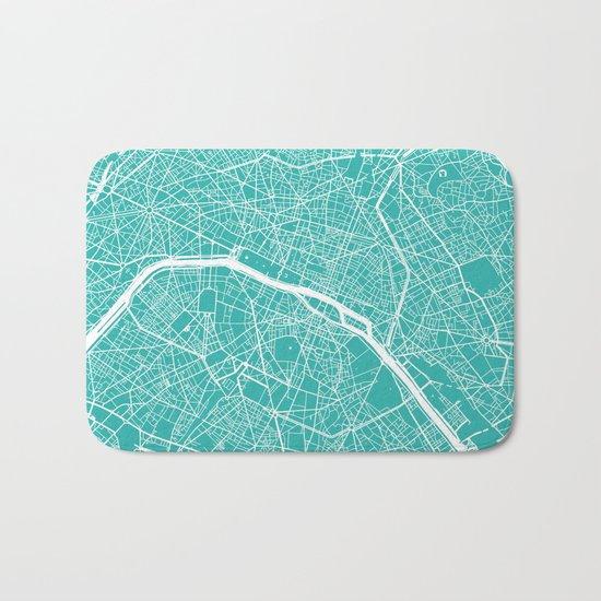 Paris map turquoise Bath Mat