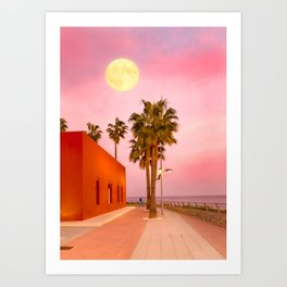 Super Moon At Sunset Art Print