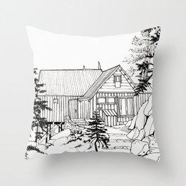 MOFFITT CABIN, Travel Sketch by Frank-Joseph Throw Pillow