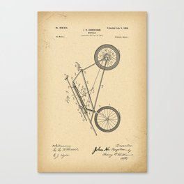 1898 Patent Bicycle Velocipede Canvas Print