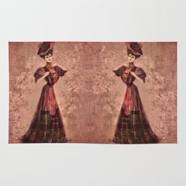 Woman in red Edwardian Era in Fashion Rug