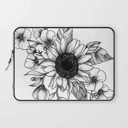 Bouquet of Flowers with Sunflower / Fall floral lineart Laptop Sleeve