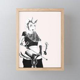 The Warrior Pen and Ink Framed Mini Art Print