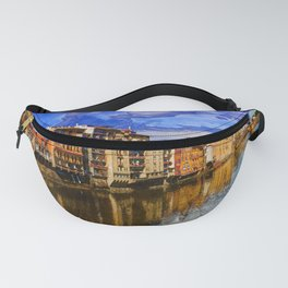 View to embankment of Arno river with bridge and medieval buildings, Florence, Italy. Fanny Pack