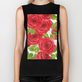 Red watercolor roses with leaves and buds pattern Biker Tank