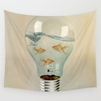 globe Wall Tapestries featuring ideas and goldfish 03 by Vin Zzep