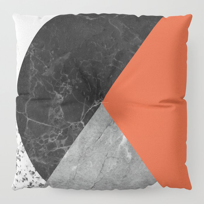 Black and white marbles and pantone flame color Floor Pillow