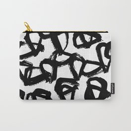 Painted Geometric Black and White Carry-All Pouch