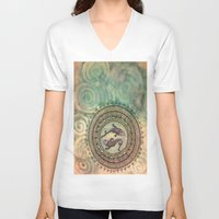 pisces V-neck T-shirts featuring Pisces by Jen Hallbrown