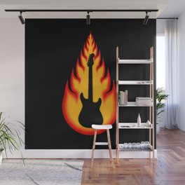 Guitar With Fire Graphics Wall Mural
