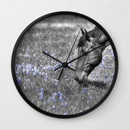 Horse & Bluebonnets Wall Clock