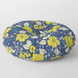 Yellow & Blue Floral Pattern Floor Pillow