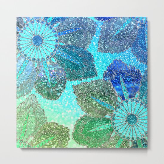 Aqua Green and Blue Glitter Flowers on #Society6 Metal Print