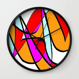 Abstract multicolor red white Wall Clock