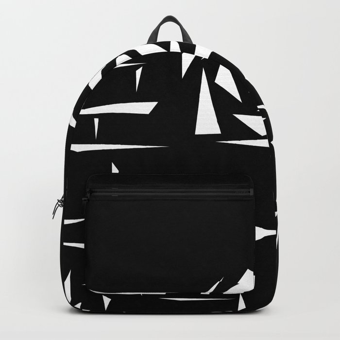 Black and white abstract pattern of Roses. Triangles .1 Backpack