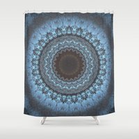 bohemian Shower Curtains featuring Bohemian Blue by Jane Lacey Smith
