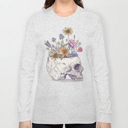 Half Skull Flowers Long Sleeve T-shirt