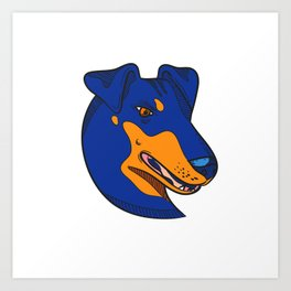 Manchester Terrier Dog Head Drawing Color Art Print