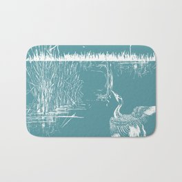 Orienal Exotic Heron & Birds on a Lake Print - Blue Bath Mat
