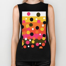 Earth and Summer Sky - Color Strips with Circles Biker Tank