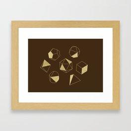 Dice Outline in Gold + Brown Framed Art Print