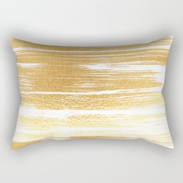 Abstract faux gold white modern paint brushstrokes Rectangular Pillow